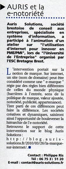 Journal Amplitel : «Auris et la e-notoriété»