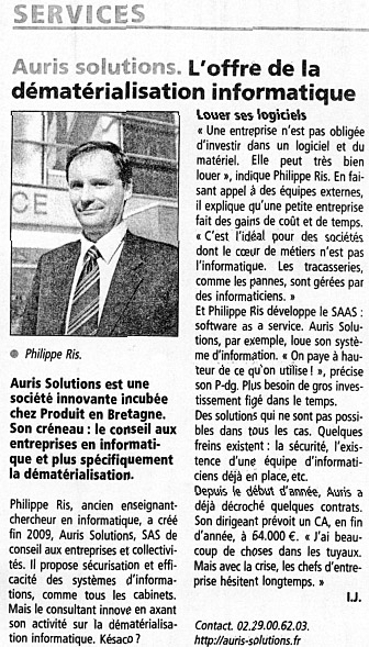 Lettre de l'AFEIT, Auris Solutions société de services aux entreprises